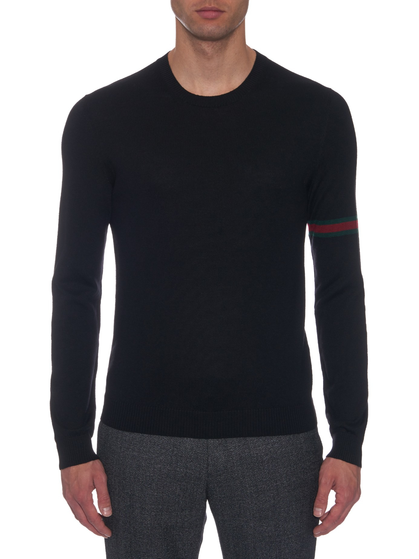 542d2f8c09eb0 Lyst - Gucci Crew-Neck Wool-Knit Sweater in Black for Men