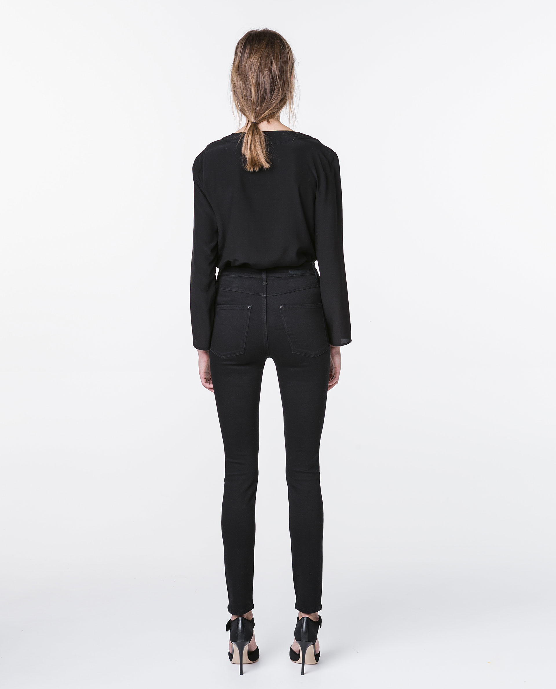 Zara Super High Waisted Jeans in Black | Lyst