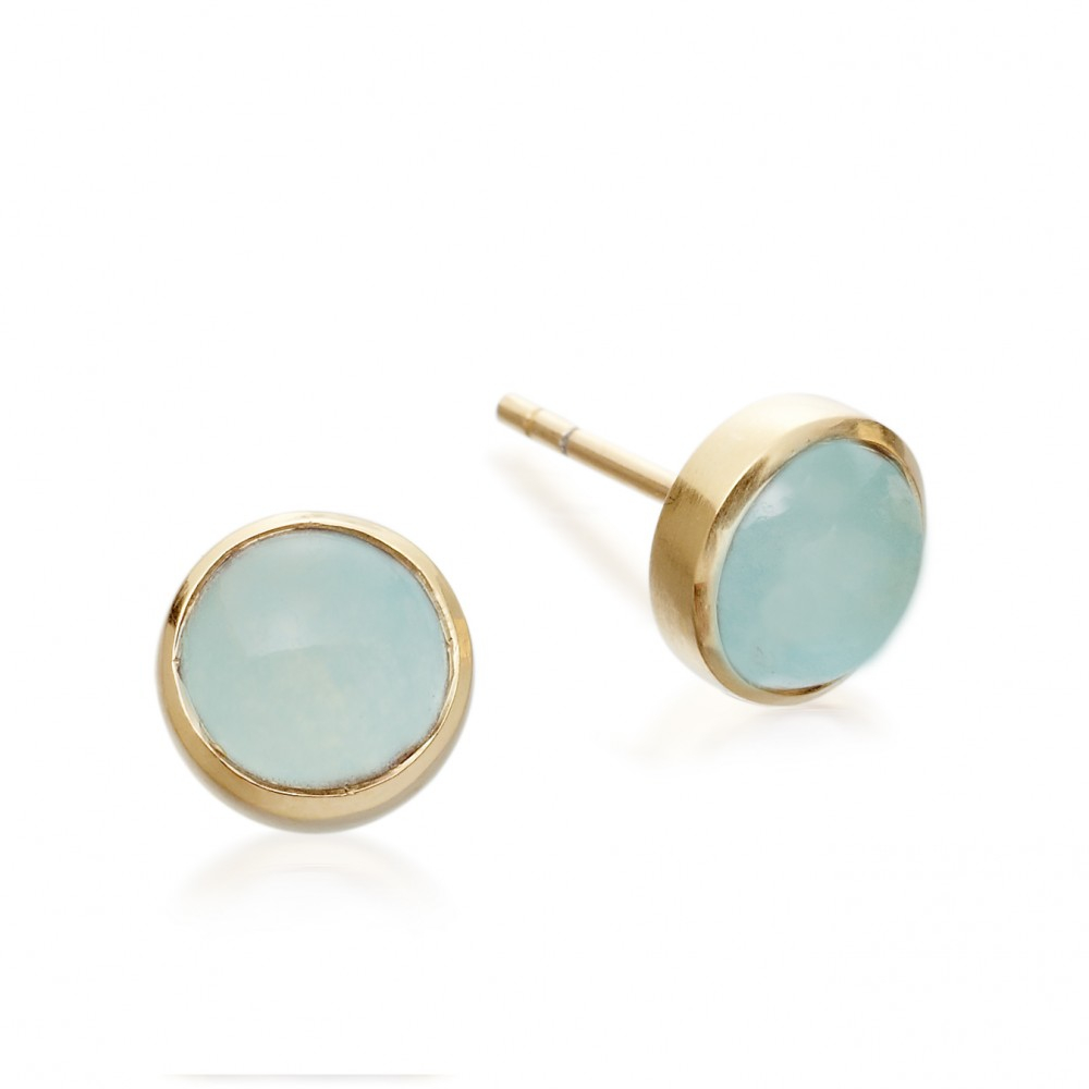 stud white earrings diamonds aqua in with marine aquamarine gold