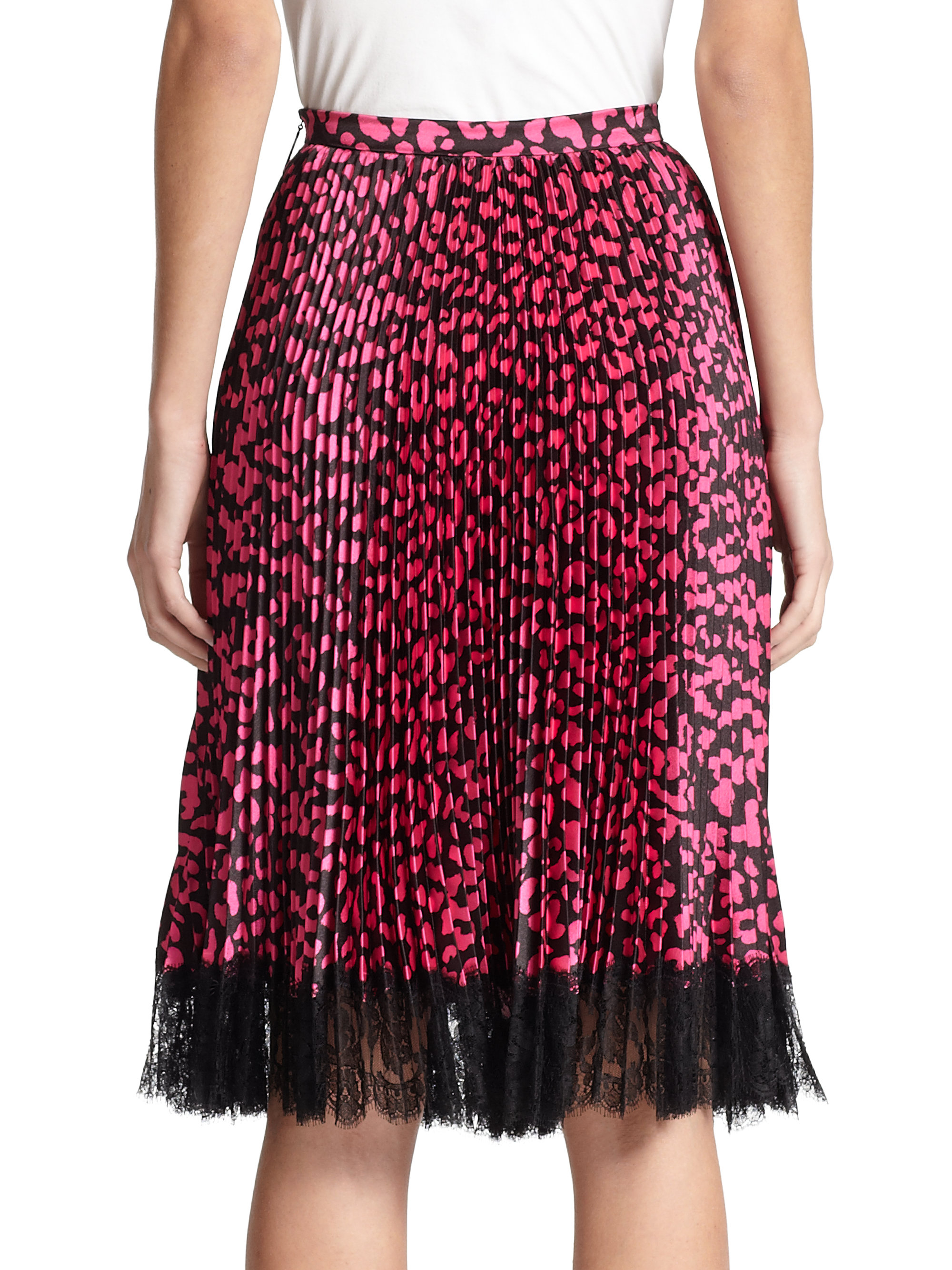 Christopher Kane Pleated Leopard Print Skirt In Pink Lyst