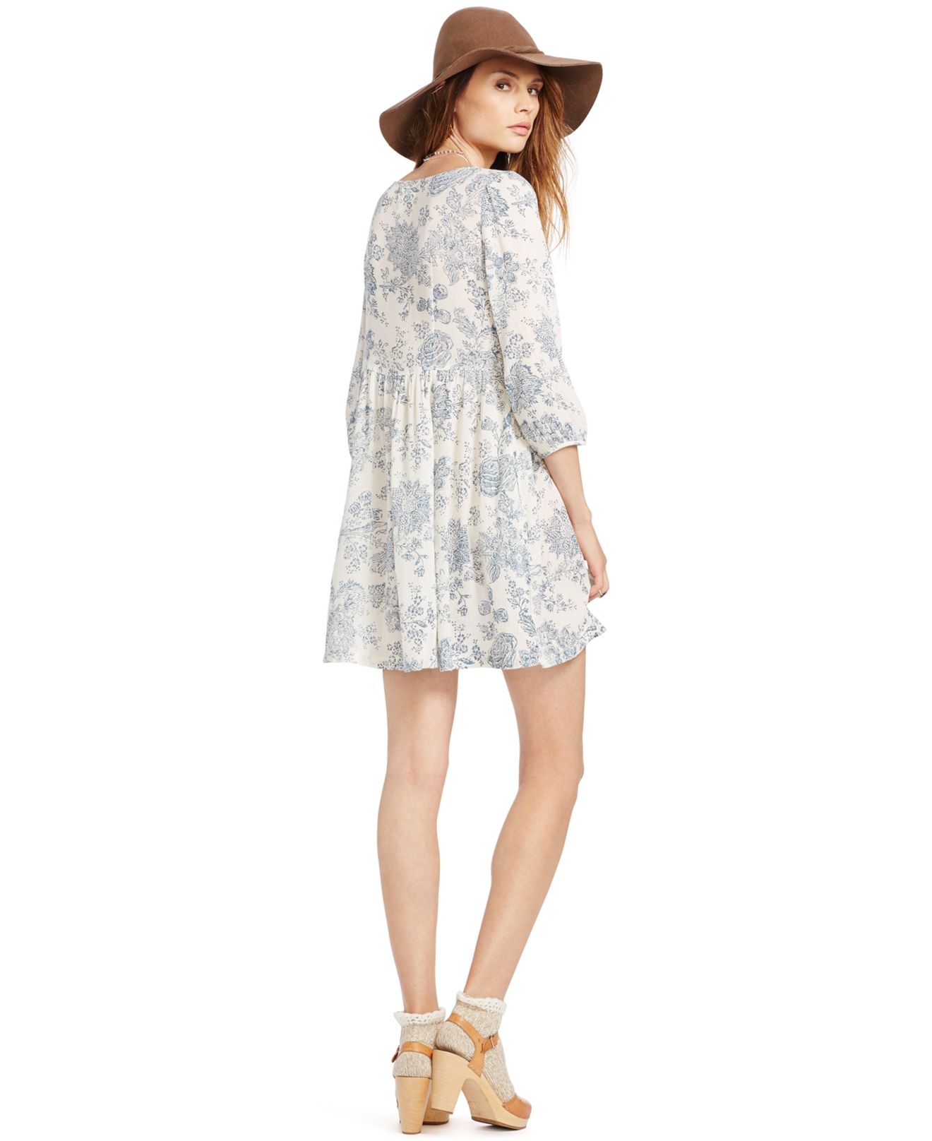 995152474 Denim   Supply Ralph Lauren Floral-print Babydoll Dress in Blue - Lyst