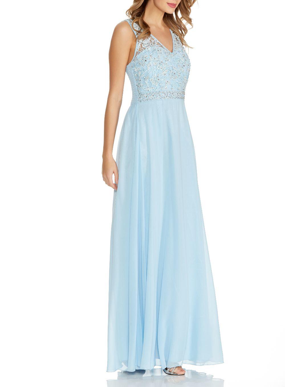 Lyst Quiz Pale Blue Chiffon V Neck Maxi Dress In Blue