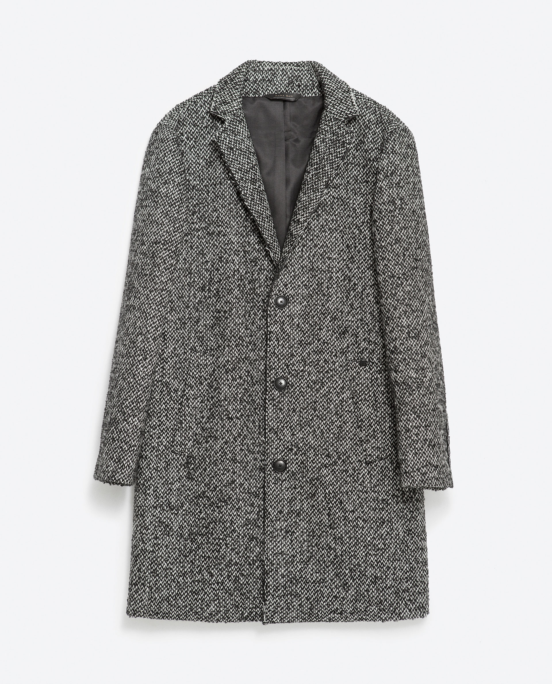 Black And White Wool Coat | Down Coat