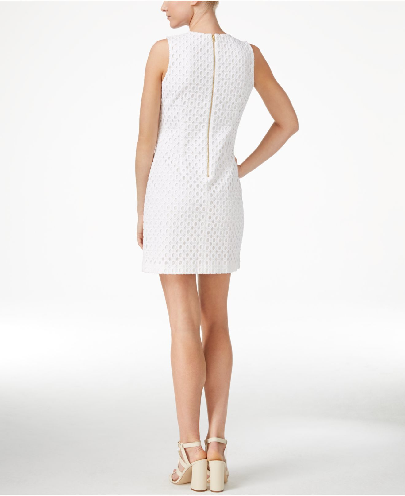 Calvin Klein Petite Sleeveless Lace Sheath Dress In White | Lyst