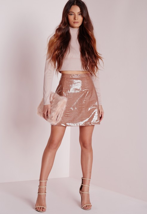 Missguided Croc Faux Leather A-line Skirt Rose Pink in Pink | Lyst