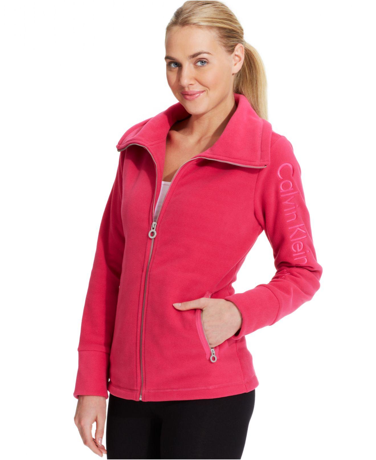 Calvin klein Performance Fleece Logo Jacket in Red | Lyst