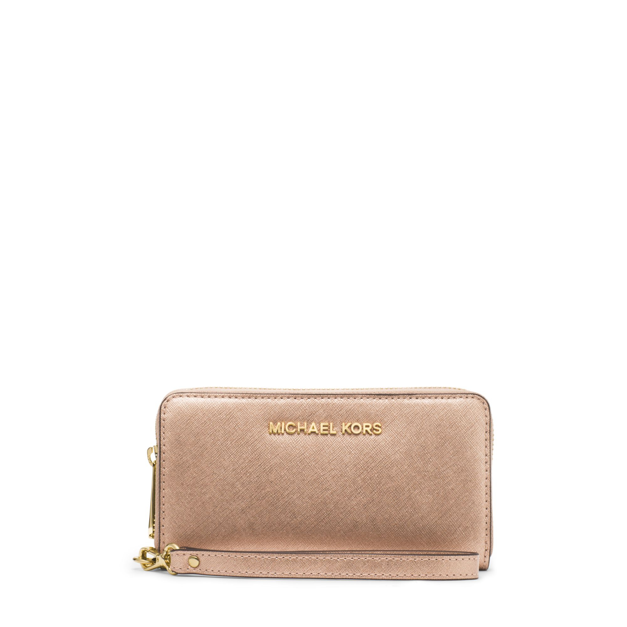 ... Michael kors Jet Set Travel Large Metallic Leather Smartphon