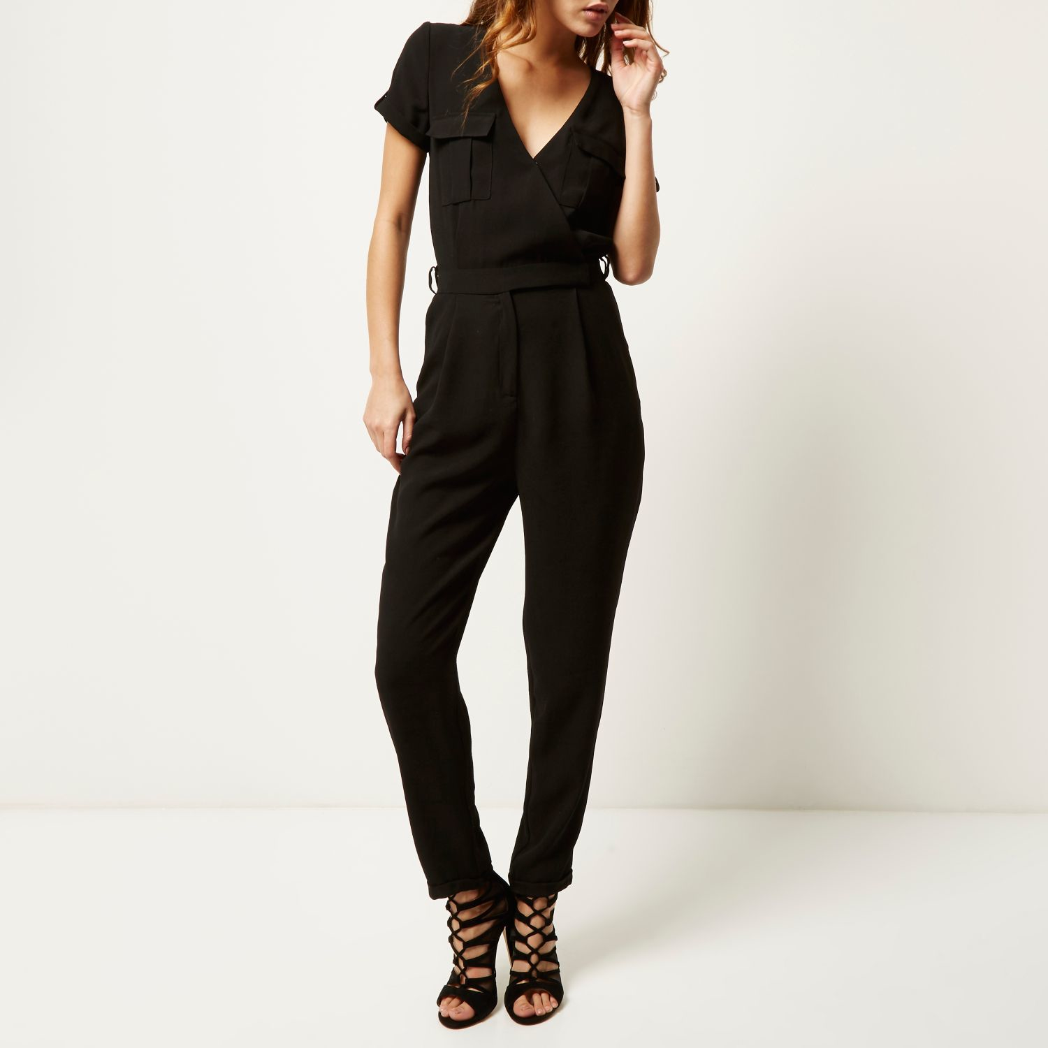 1ecced13f6a River Island Black Smart Waisted Jumpsuit in Black - Lyst