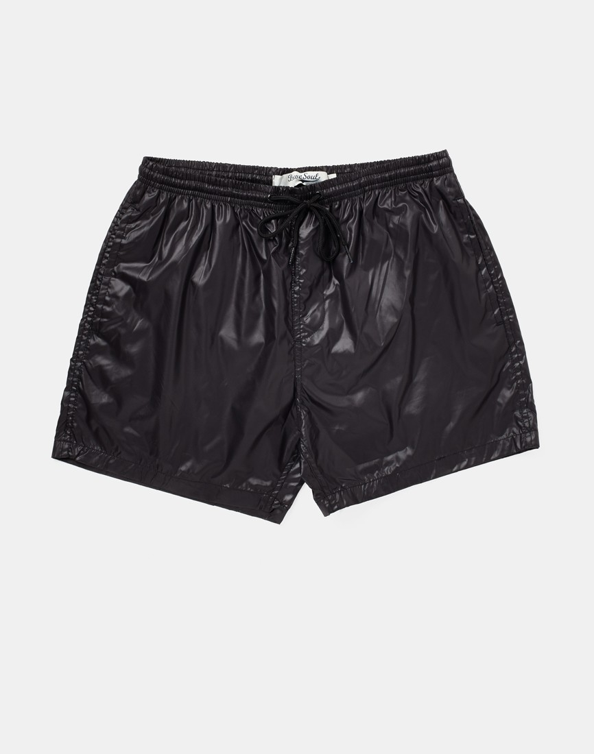 lyst brave soul brave soul shiny swim shorts in black