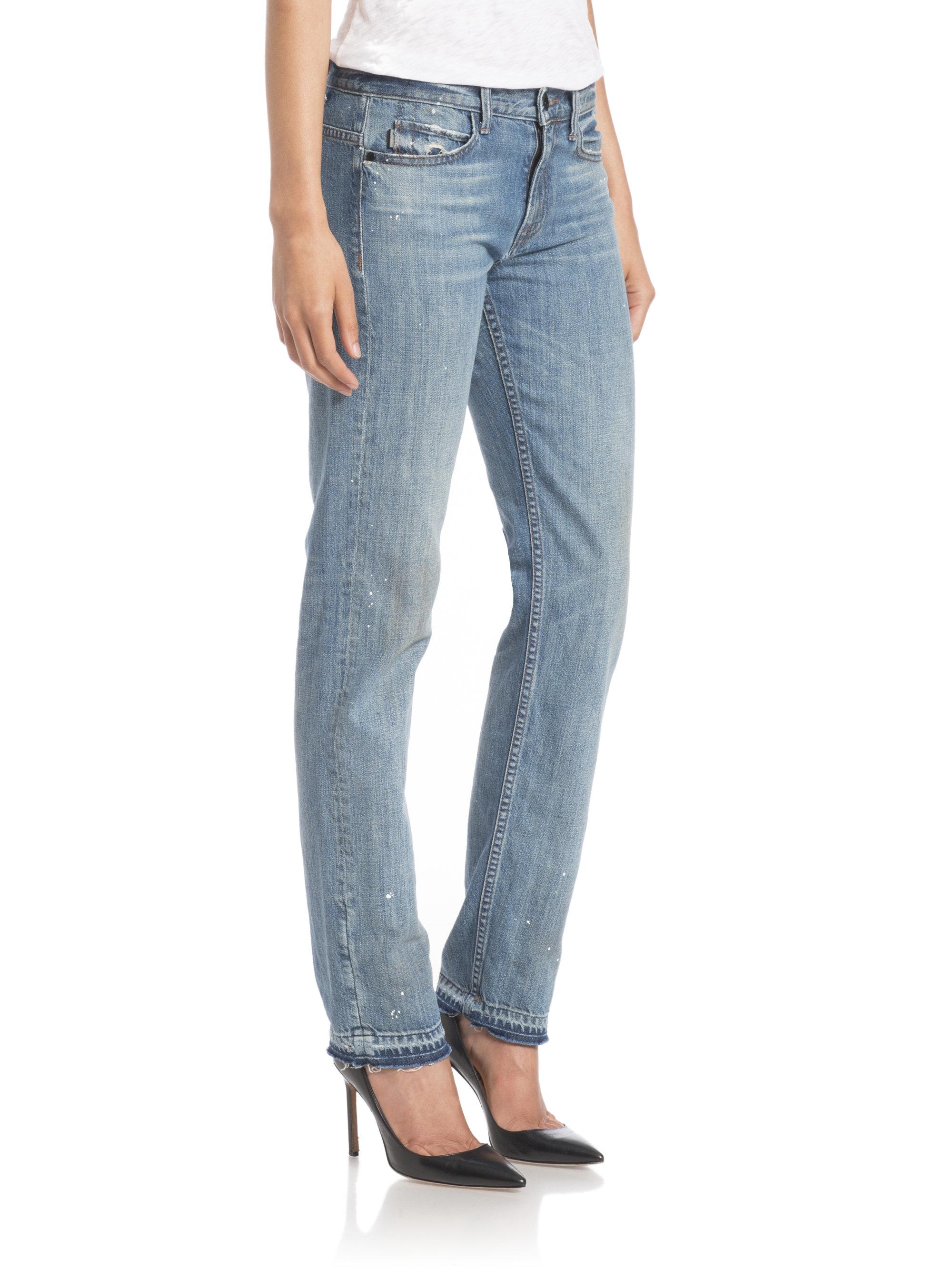 Helmut lang Distressed Slim-leg Jeans in Blue | Lyst