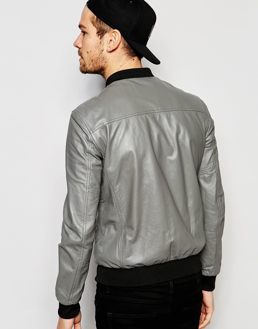 Replay Leather Bomber Jacket Zip Front In Gray For Men Lyst