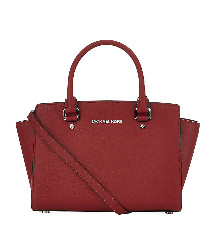 michael michael kors medium selma satchel in red lyst. Black Bedroom Furniture Sets. Home Design Ideas
