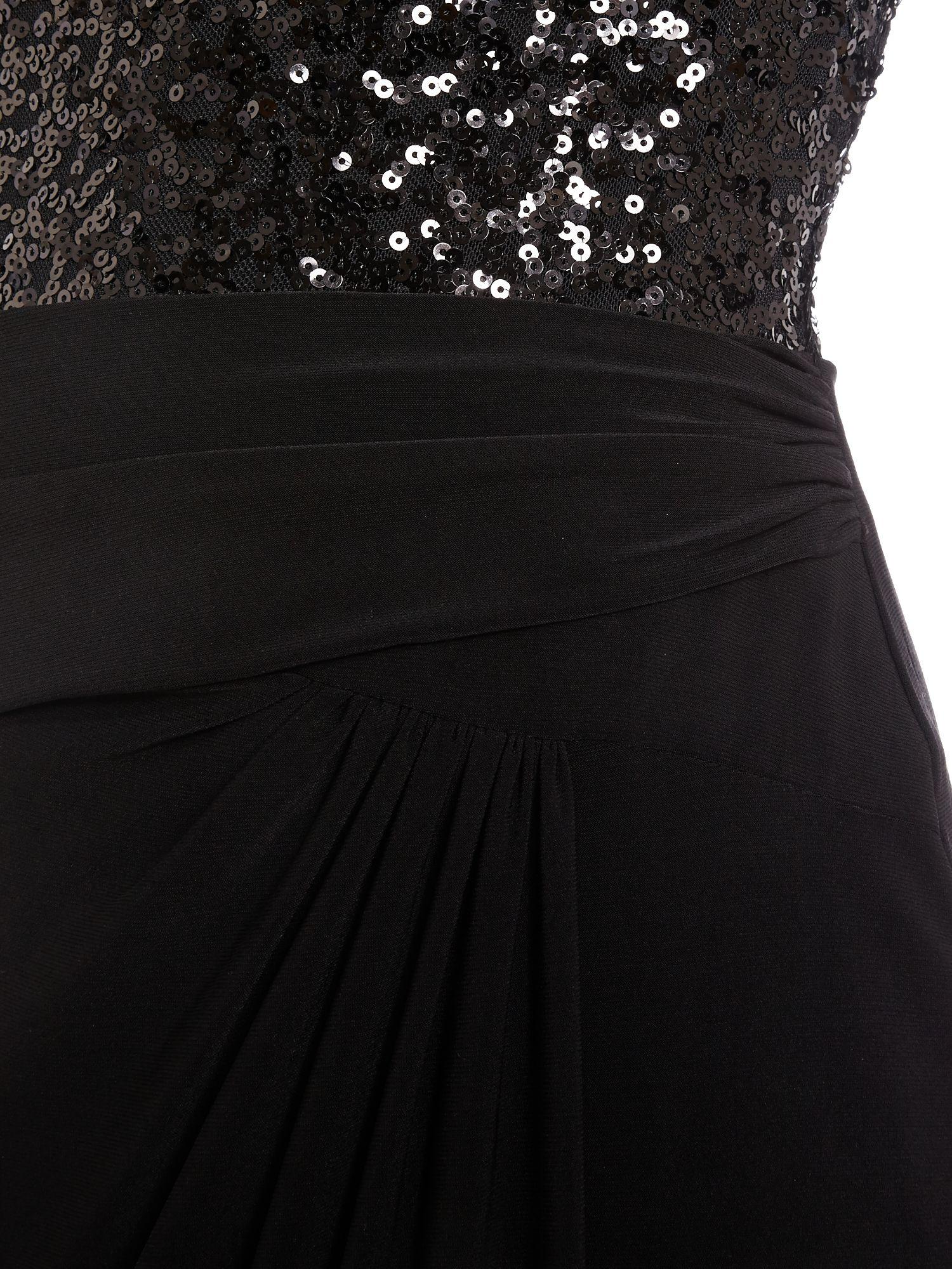Famous Ralph Lauren Bateau Neck Sequin Lace Gown Composition ...