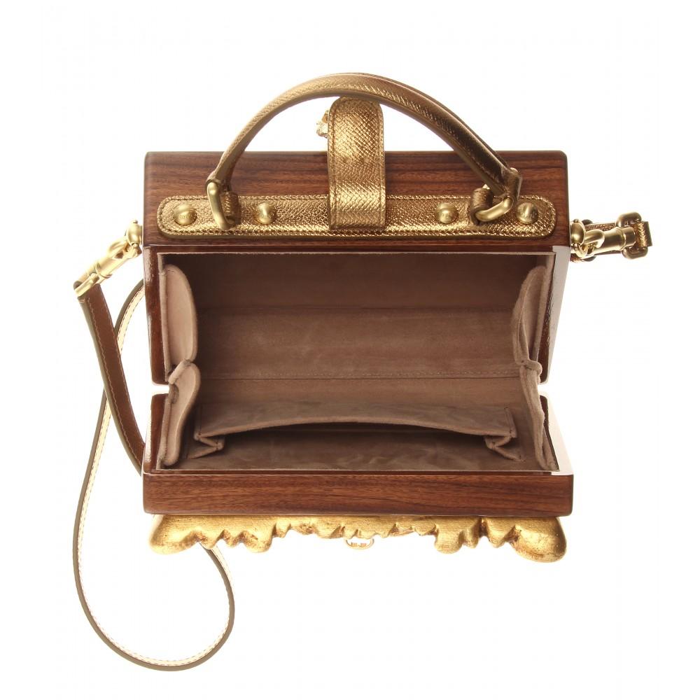 Lyst - Dolce   Gabbana Dolce Embellished Wooden Shoulder Bag 80a548caa9882