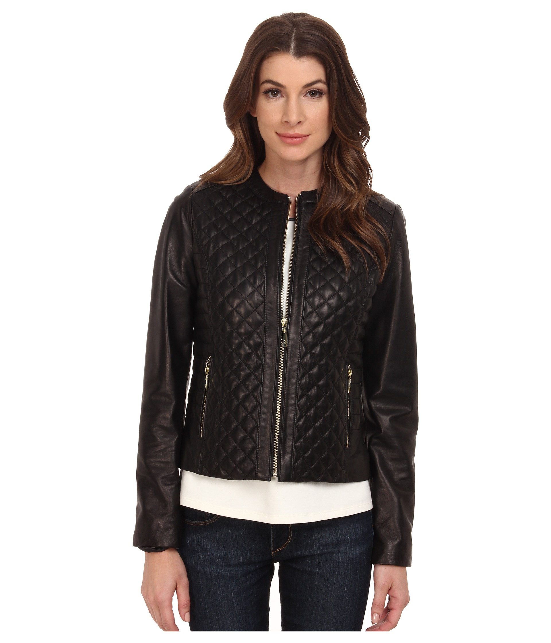 8baa2b9b576 Gallery. Previously sold at  Zappos · Women s Quilted Jackets Women s  Collarless Leather ...