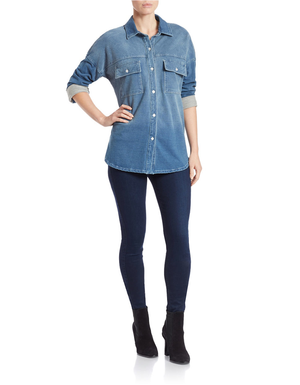 Lord Taylor Chambray Button Front Shirt In Blue Lyst