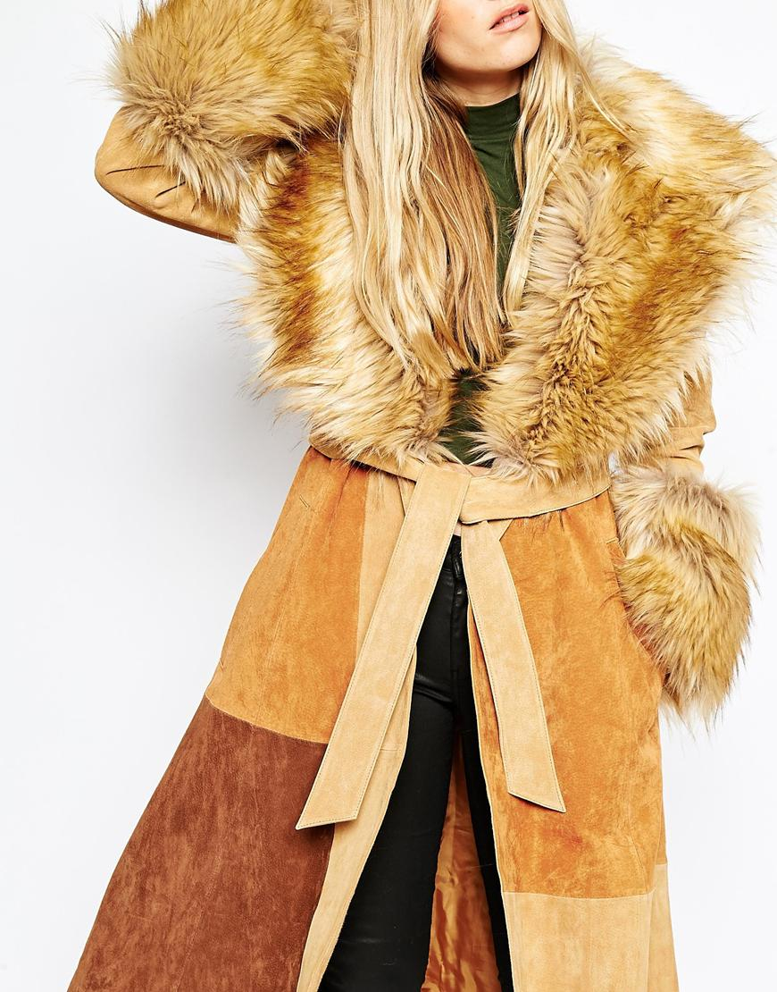 Lyst Asos Coat In Suede With Faux Fur Collar In Natural