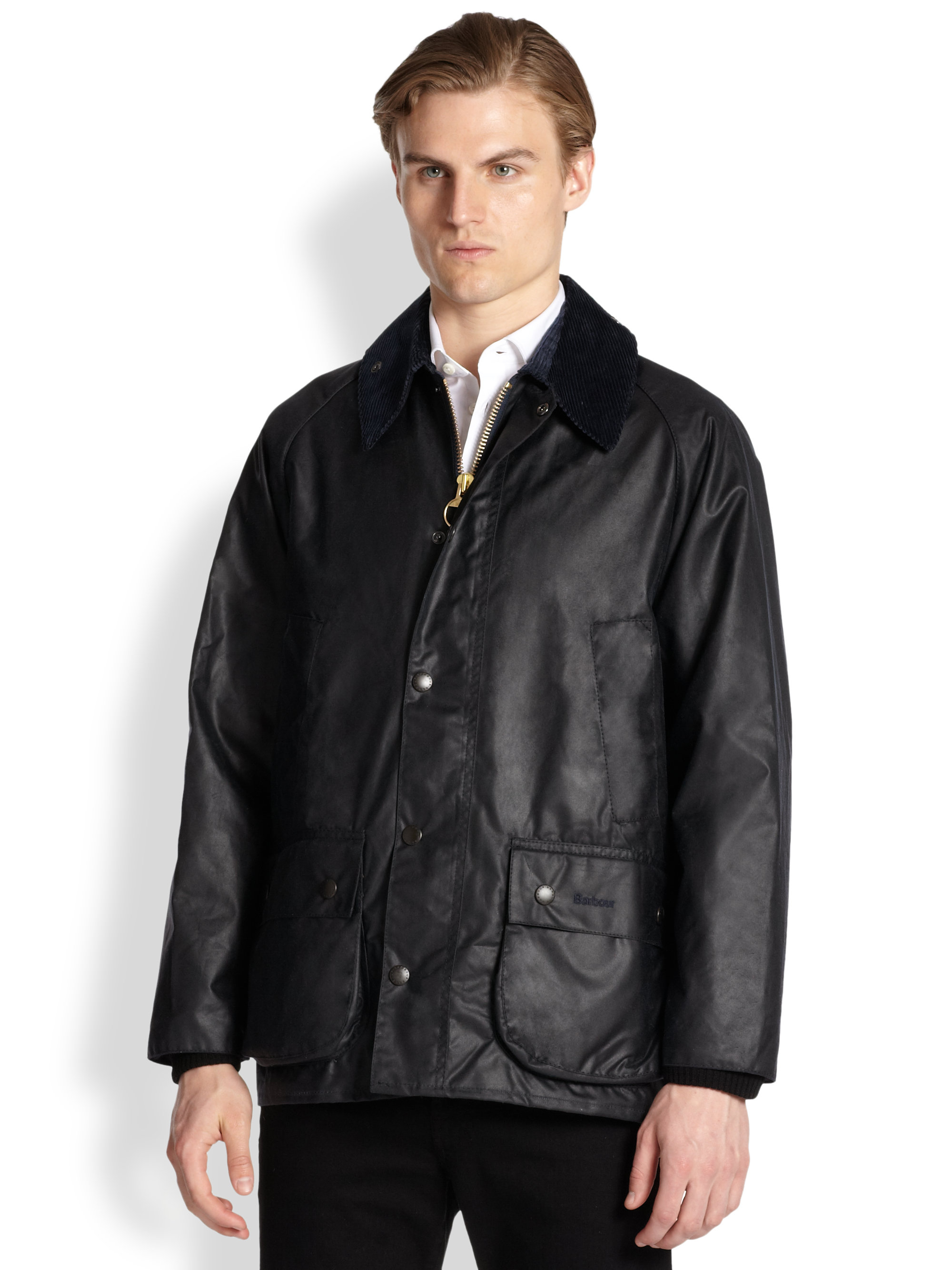 Barbour Beaufort Waxed Jacket In Black For Men Lyst