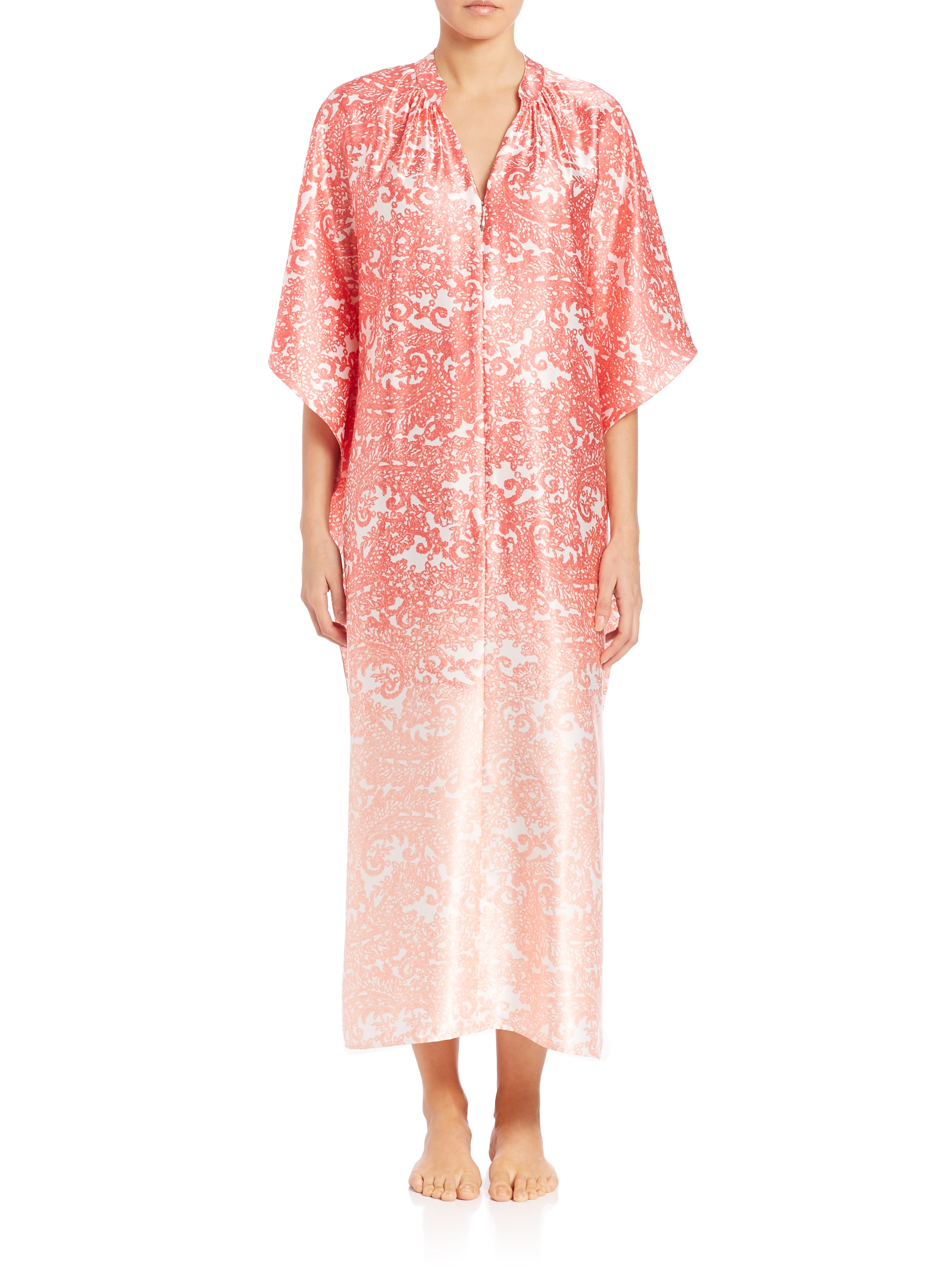 Oscar de la renta printed satin zip front caftan in pink for Caftan avec satin de chaise