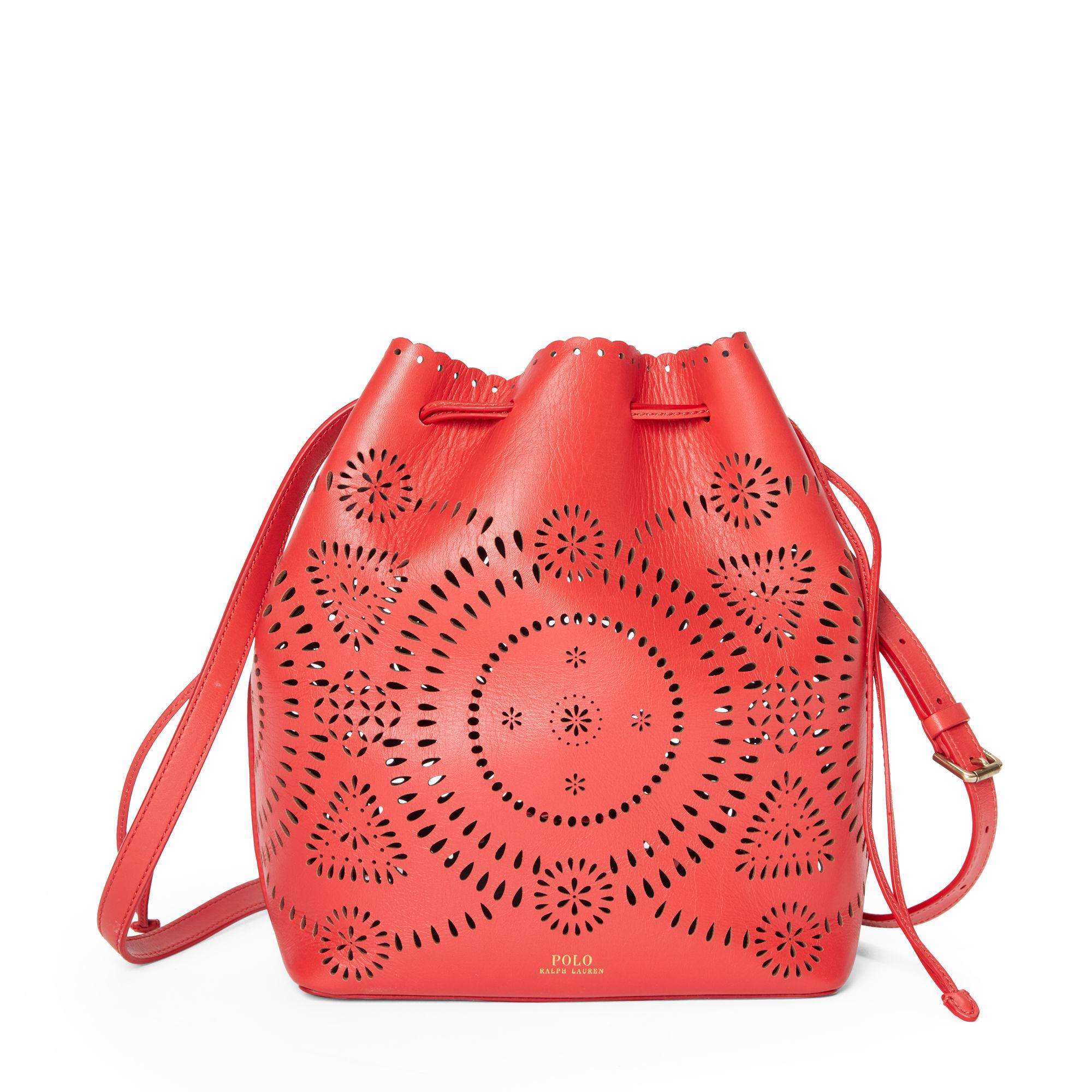 61ba9fcc61 Polo Ralph Lauren Laser-cut Leather Bucket Bag in Red - Lyst