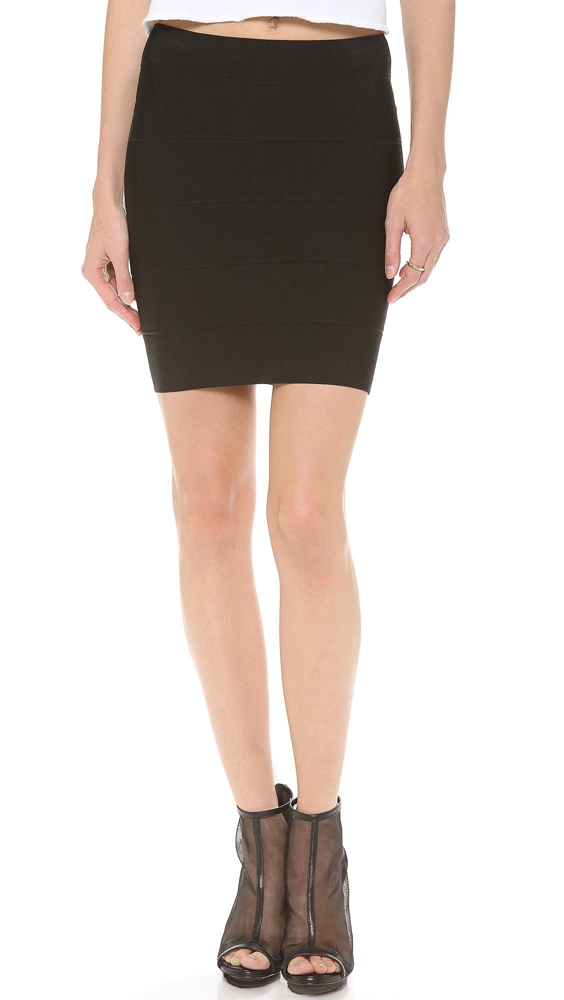42377e23b3 Bcbgmaxazria Simone Knit Skirt in Black - Lyst