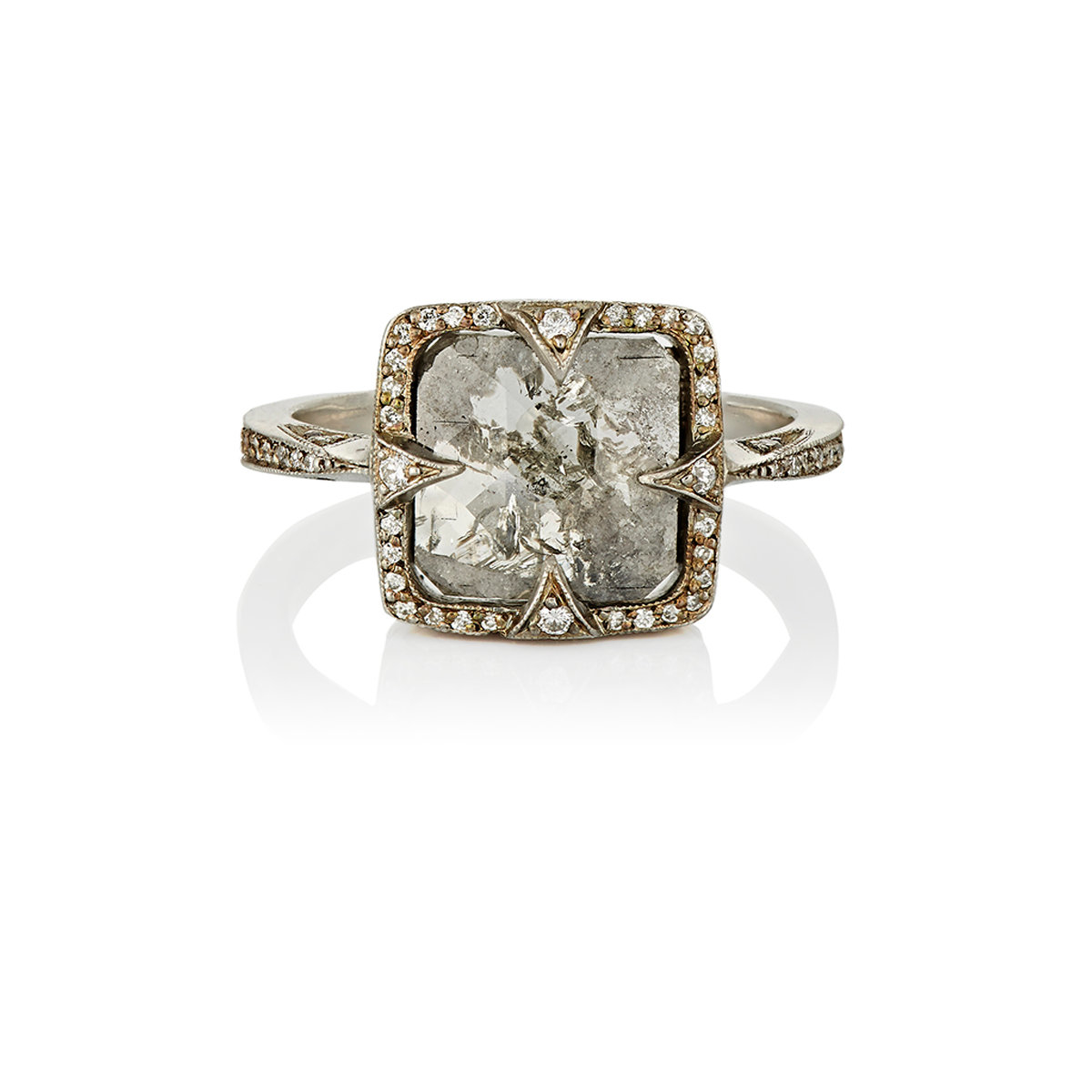 Lyst Cathy Waterman Rustic Diamond Ring in Metallic