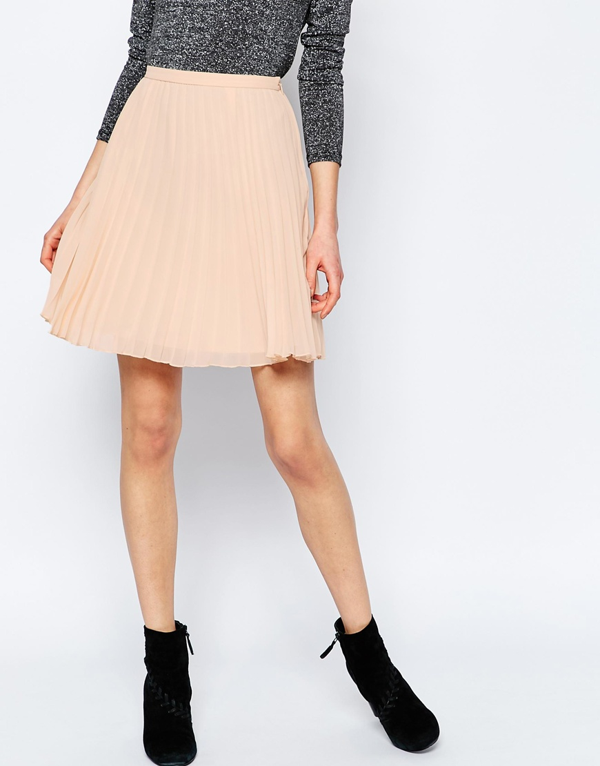 asos pleated mini skirt in pink lyst