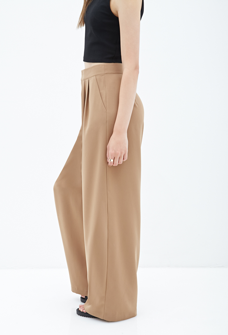 Forever 21 pleated wide leg pants in brown lyst for Thigh jewelry forever 21