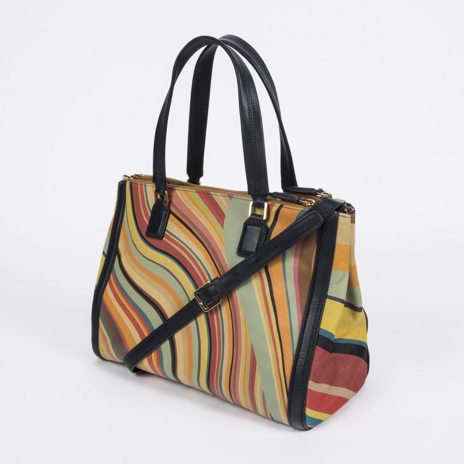 ... pretty nice 1c9a4 1f13b Paul Smith Swirl Print Calf Leather Double Zip  Tote Bag - Ly ... 35b9ed5c21189