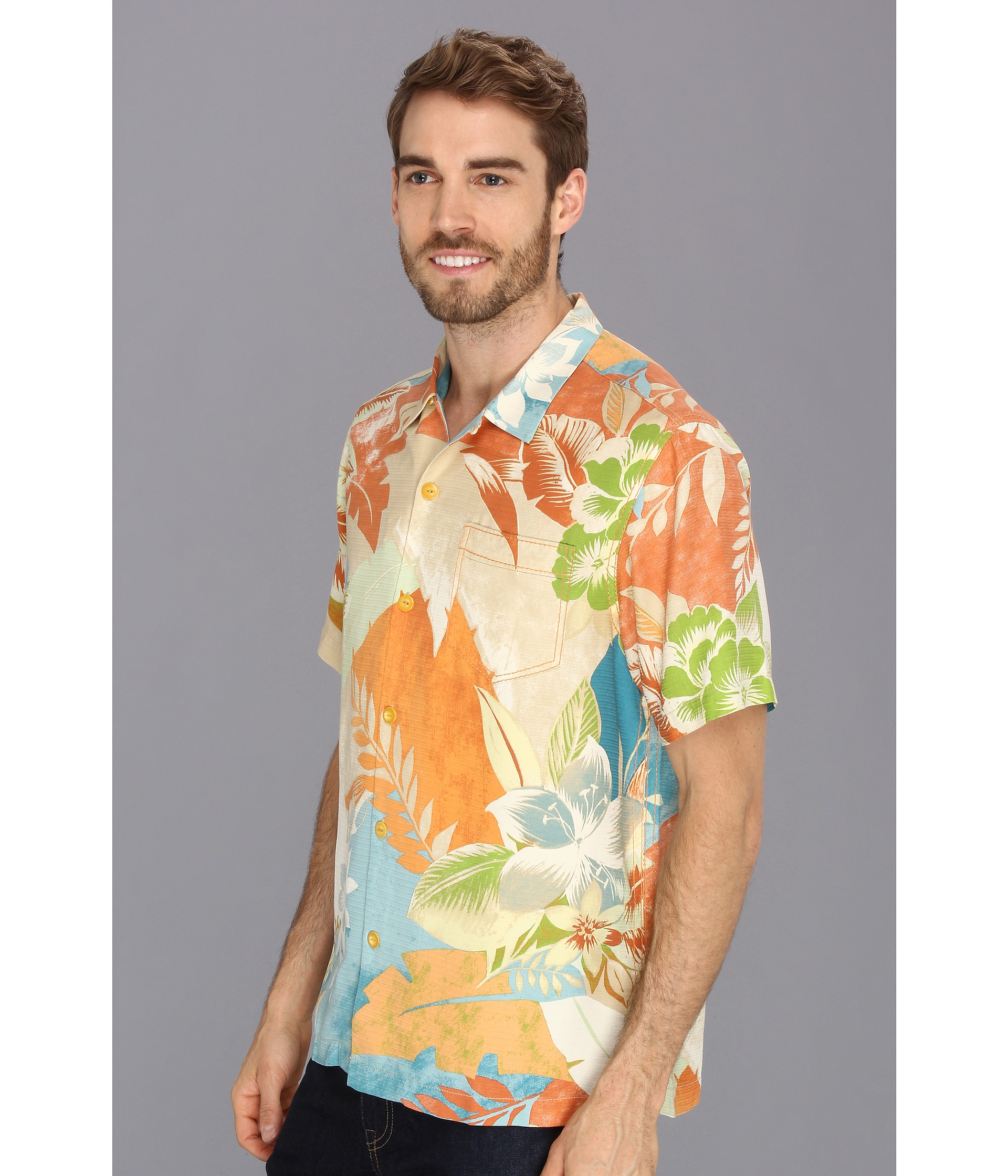 Mediterranean Clothes Style: Tommy Bahama Mediterranean Blooms Ss Shirt In Multicolor