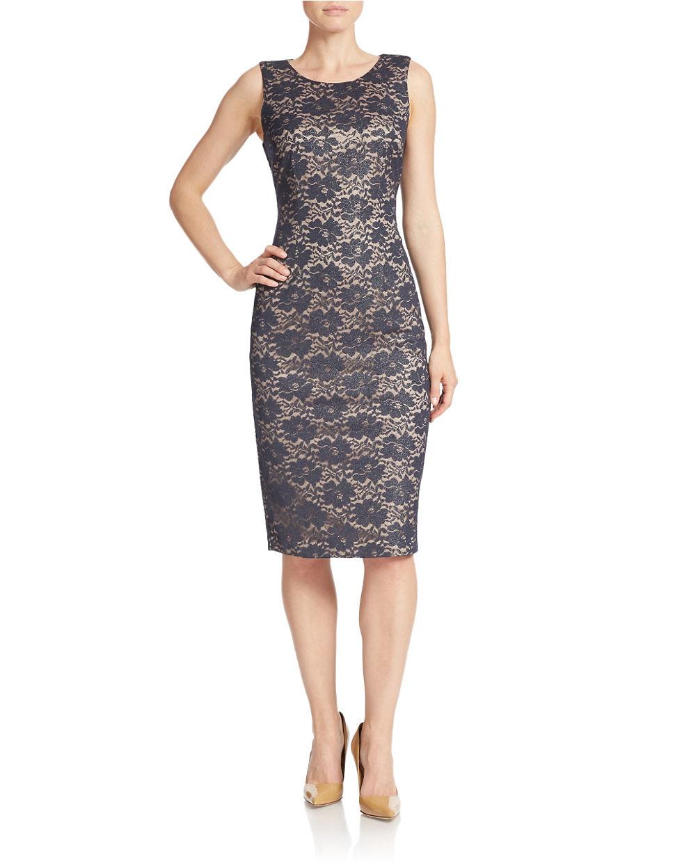 Ivanka trump Metallic Lace Sheath Dress in Blue | Lyst