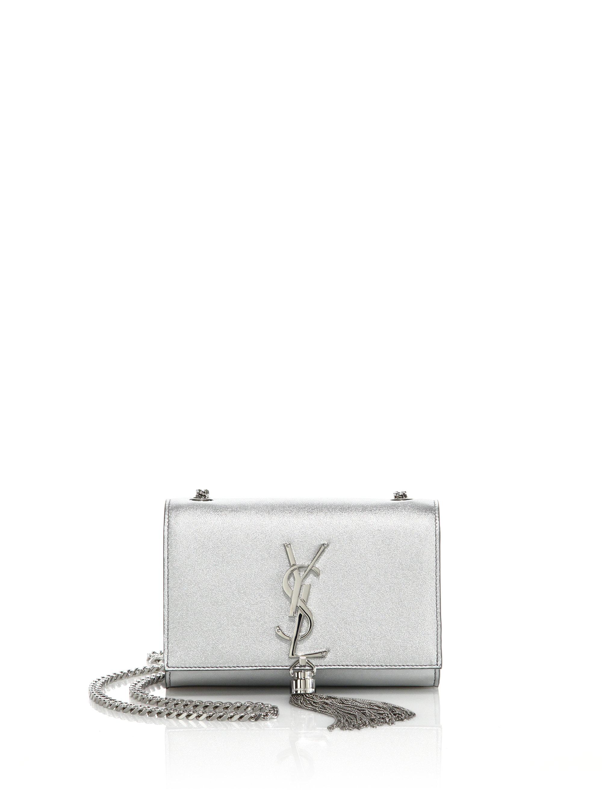 Classic Small Kate Monogram Saint Laurent Tassel Satchel In Silver Metallic Leather