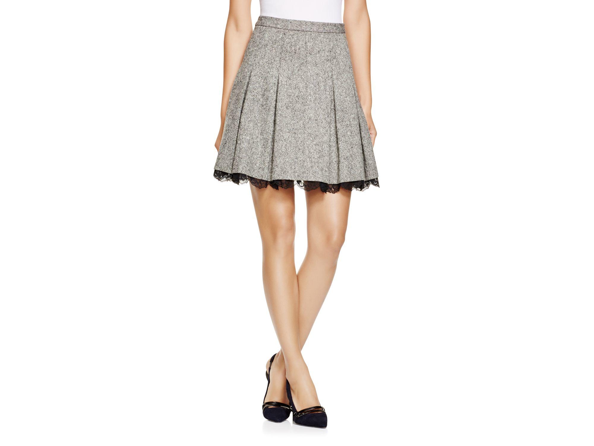 diane furstenberg devyn pleated mini skirt in black lyst
