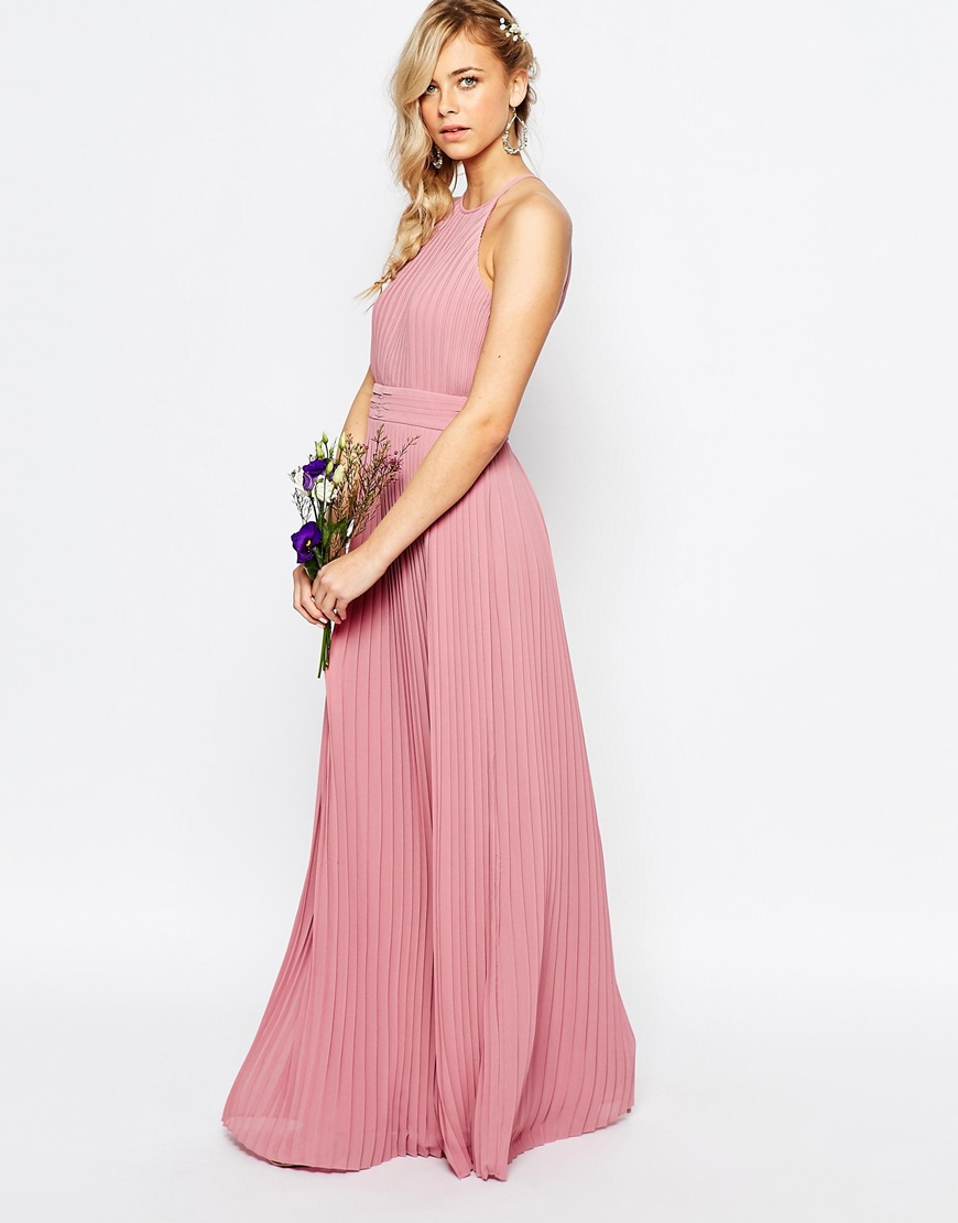Lyst - Tfnc London Wedding High Neck Pleated Maxi Dress - Pink in Pink