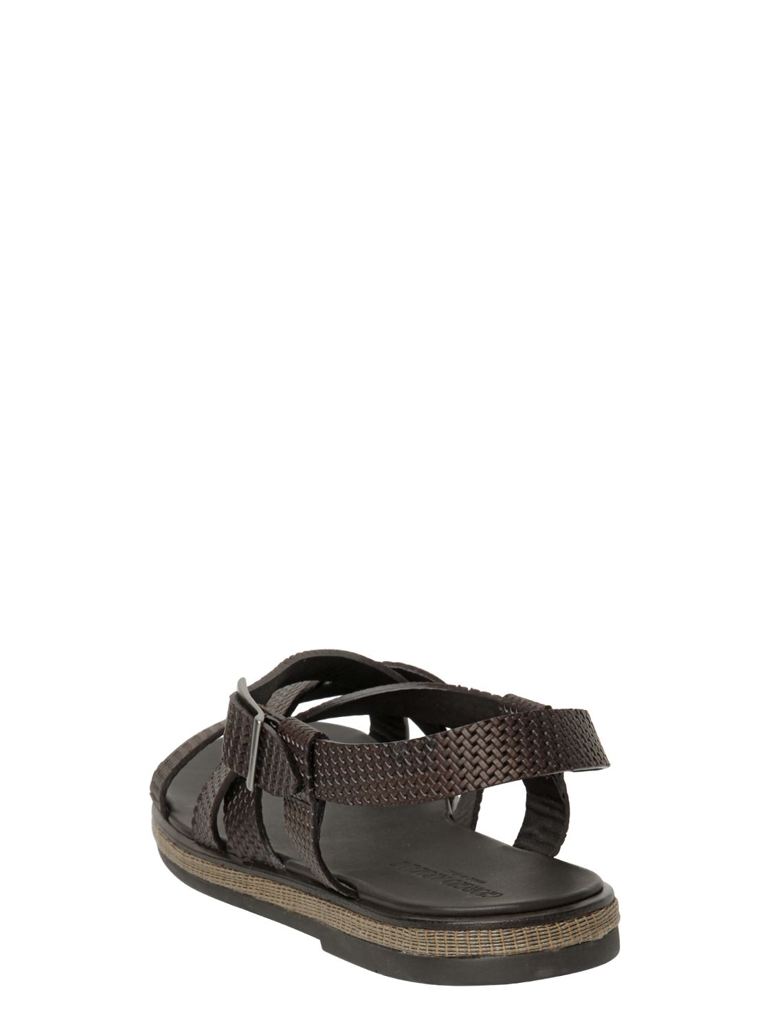 80826735aef5d0 Lyst - Giorgio Armani Woven Leather Sandals in Brown for Men