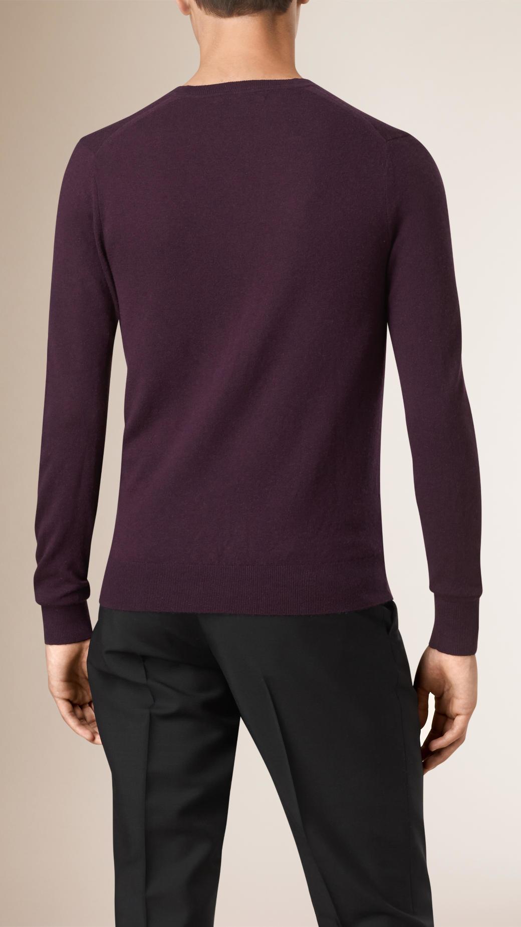 Burberry Cashmere V-neck Sweater Burgundy Black in Purple for Men ...