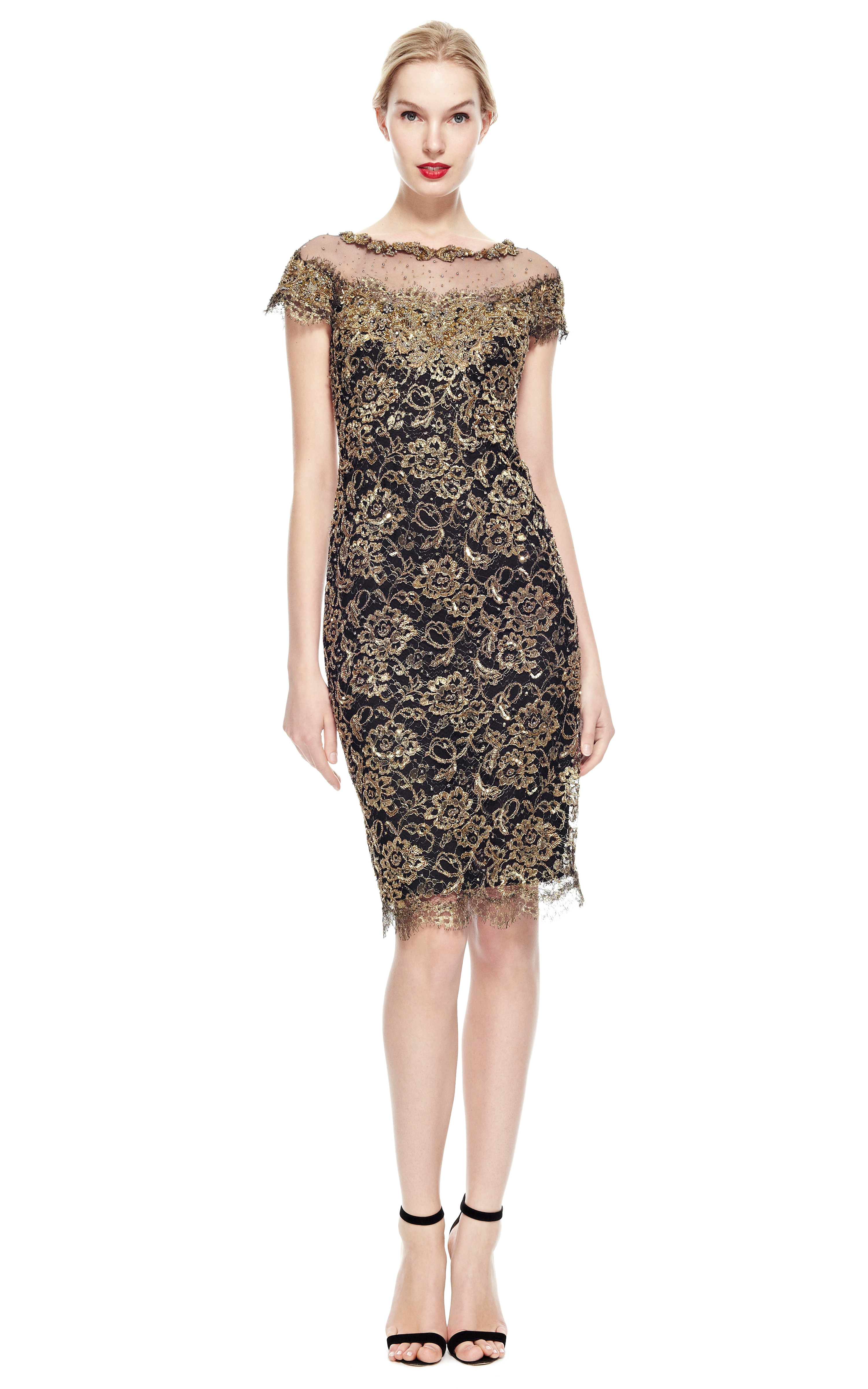 Marchesa Reembroidered Metallic Lace Cocktail Dress in Metallic  Lyst