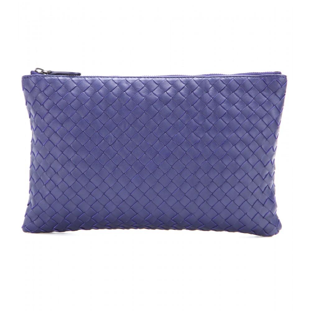 lyst bottega veneta intrecciato leather clutch in blue. Black Bedroom Furniture Sets. Home Design Ideas