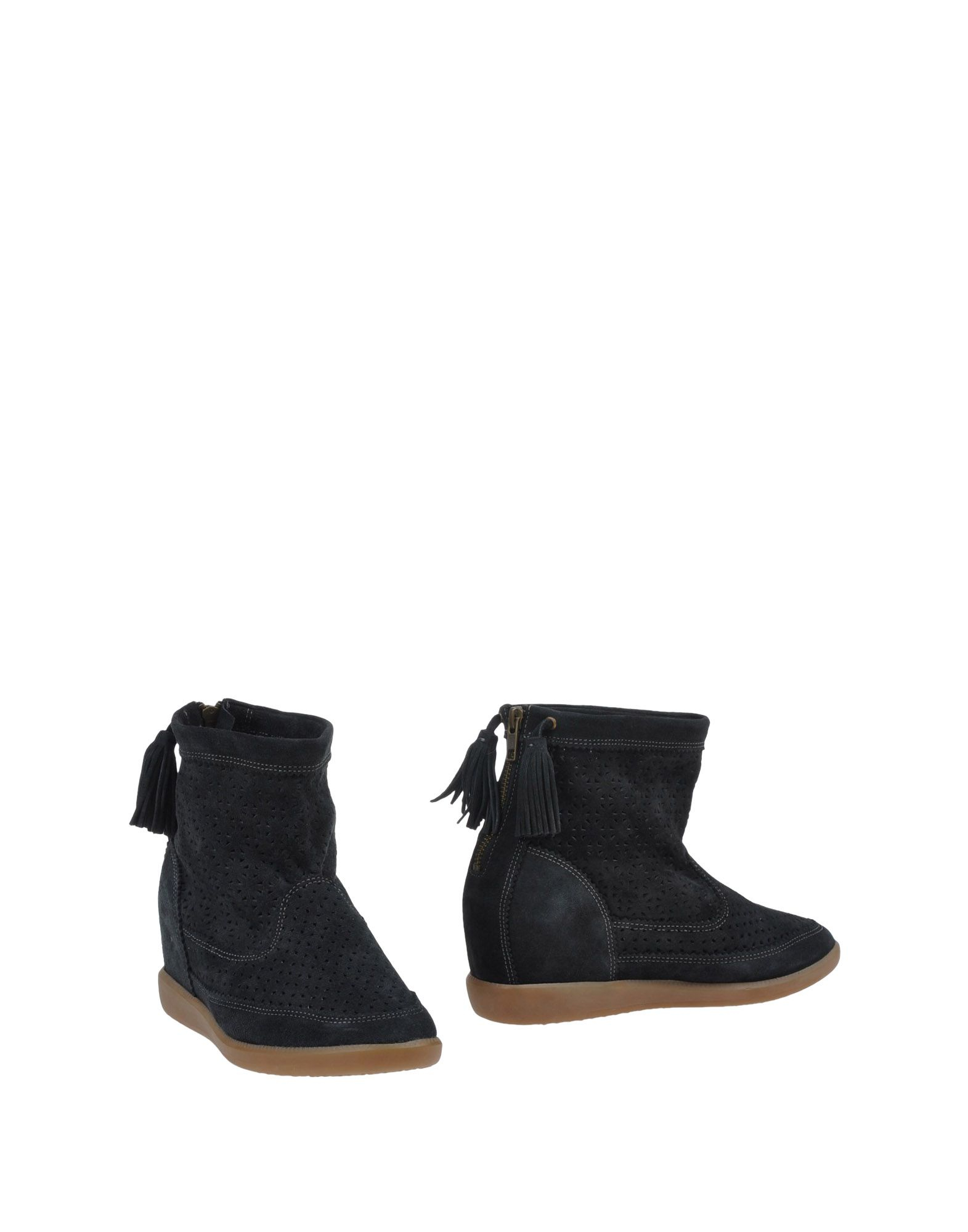 lyst isabel marant perforated calfskin ankle boots in black. Black Bedroom Furniture Sets. Home Design Ideas