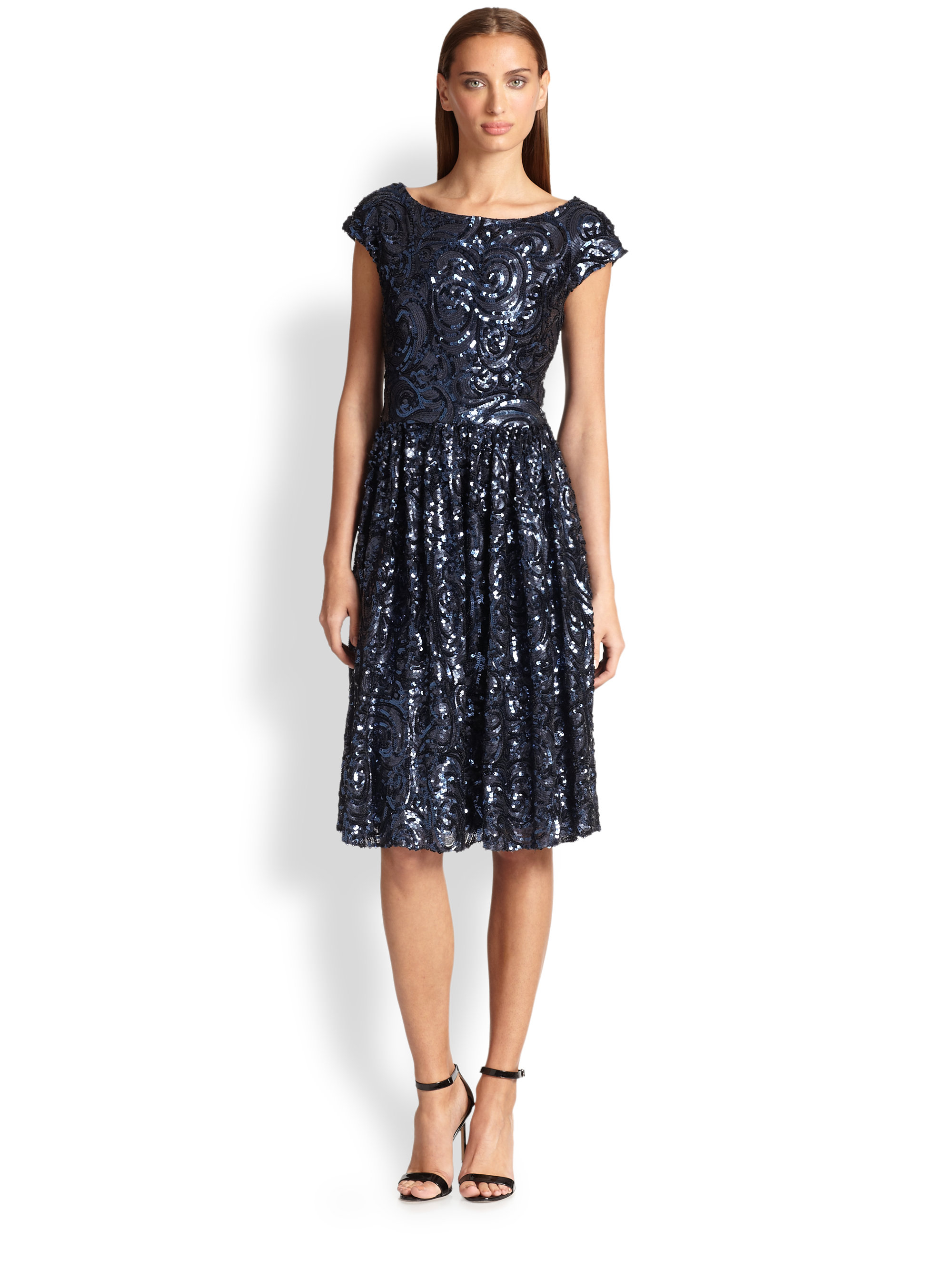 Badgley mischka Sequin Cocktail Dress in Blue  Lyst