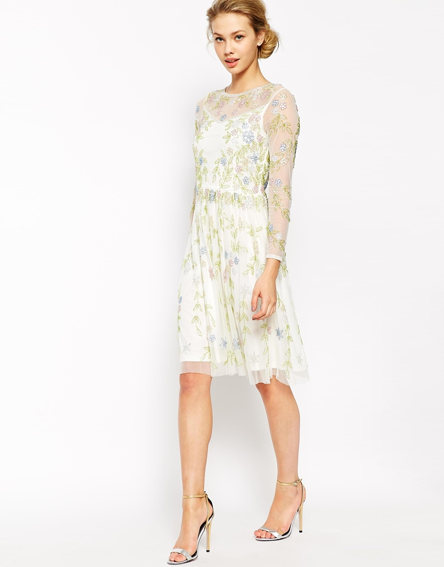 383e5614594b Lyst - Frock and Frill Long Sleeve Midi Dress With All Over Garden ...