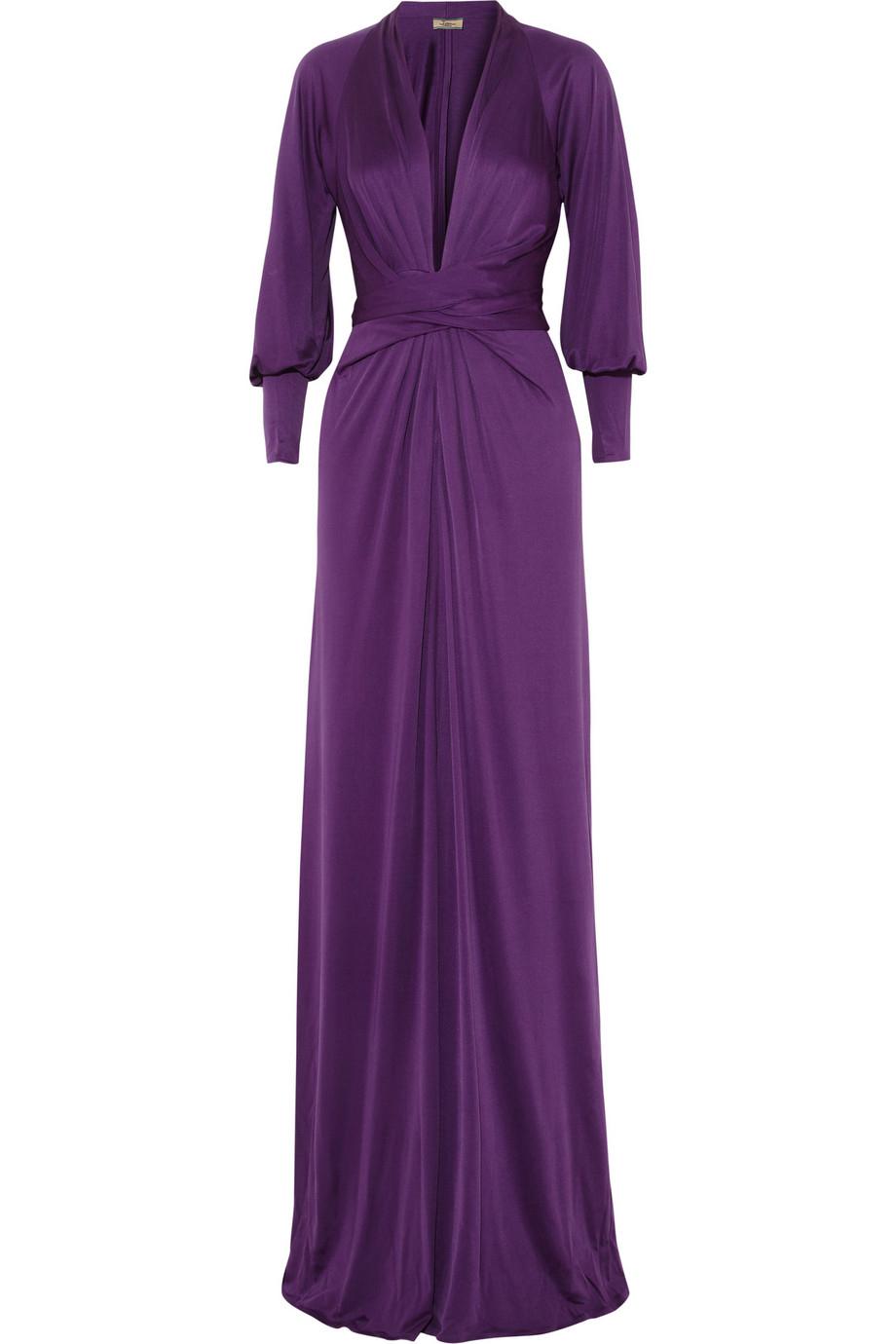 Issa Silk Jersey Maxi Dress in Purple | Lyst