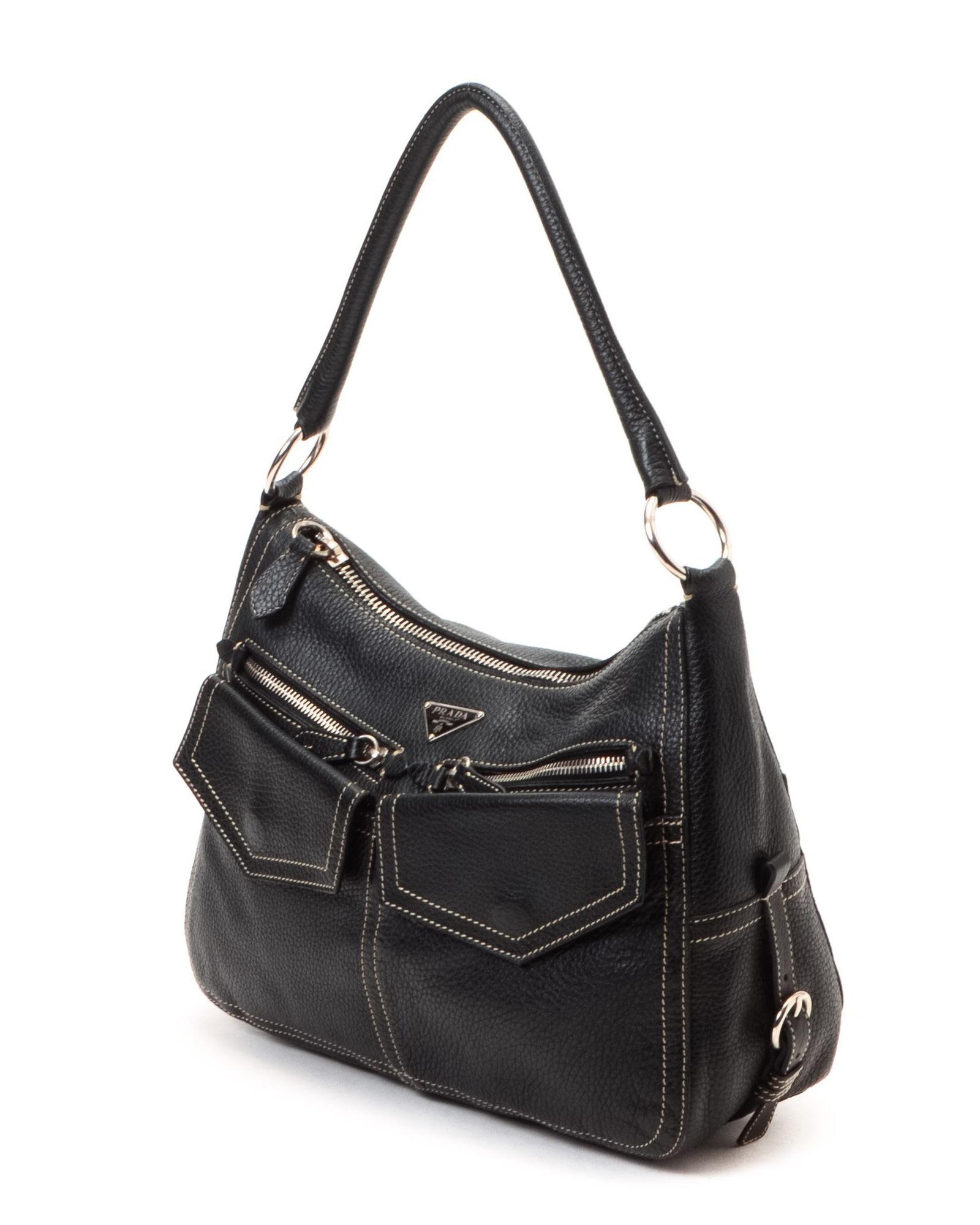 saffiano lux double-zip tote bag - Prada Shoulder Bag - Vintage in Black | Lyst