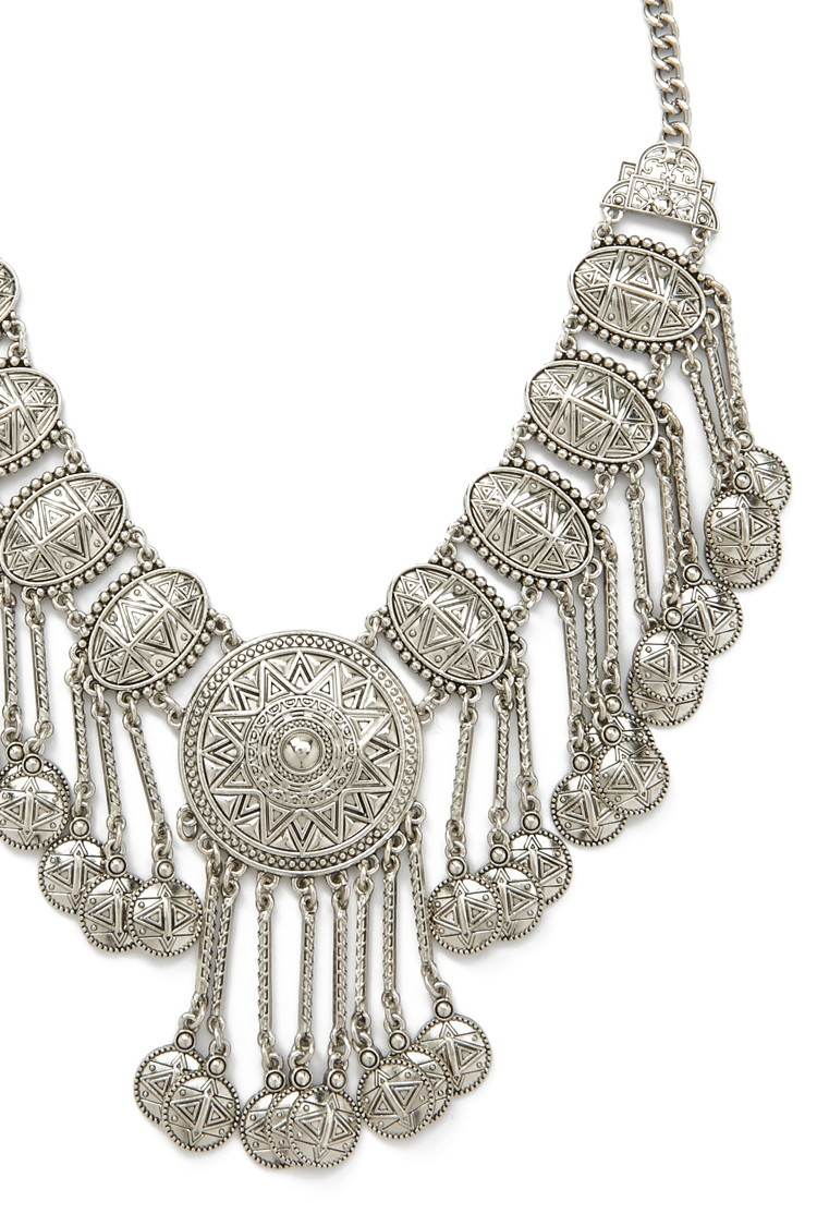 Lyst Forever 21 Etched Medallion Statement Necklace In