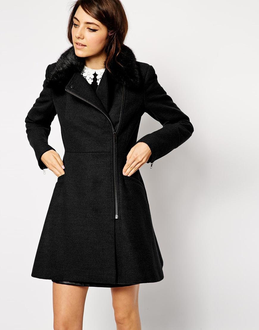 asos skater biker coat with detachable faux fur collar in. Black Bedroom Furniture Sets. Home Design Ideas