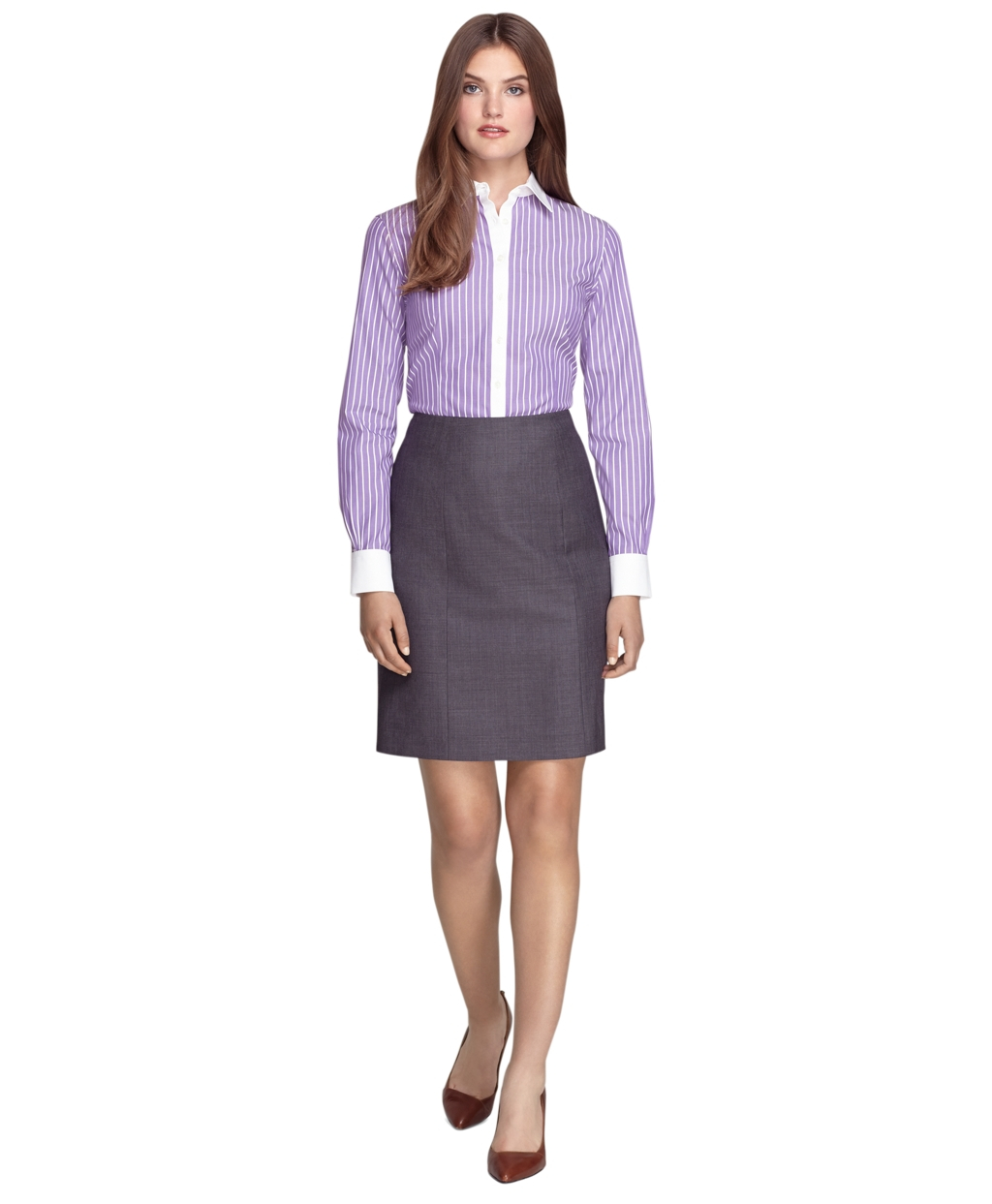 Brooks brothers non iron tailored fit wide stripe dress for Tailoring a dress shirt