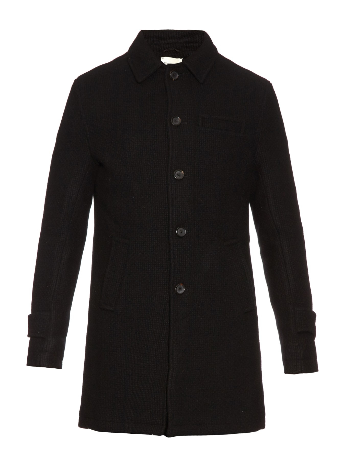 Oliver spencer Textured Wool Coat in Black for Men | Lyst