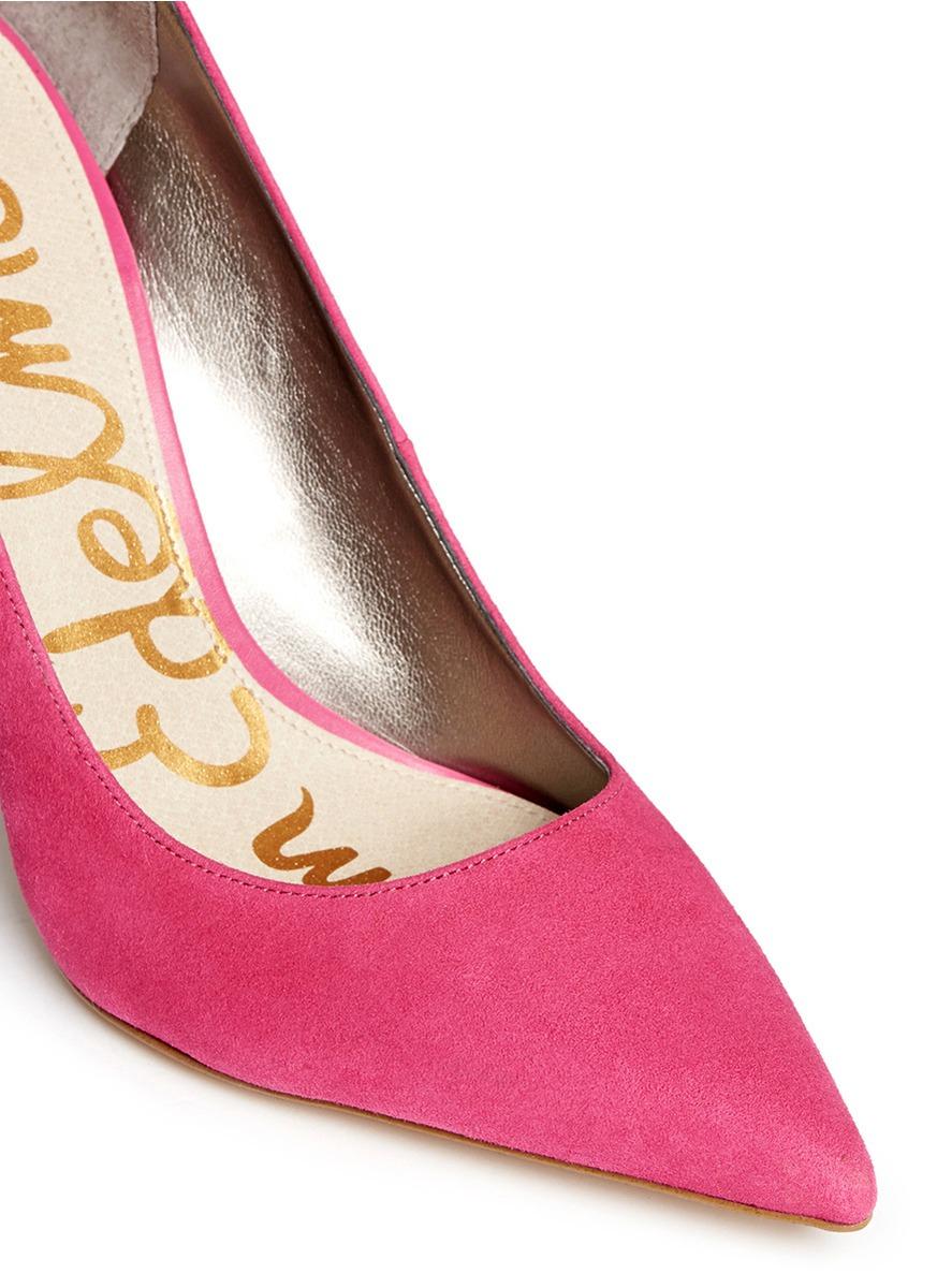78f8e31c49b44 Sam Edelman  dea  Leather Trim Suede Pumps in Pink - Lyst