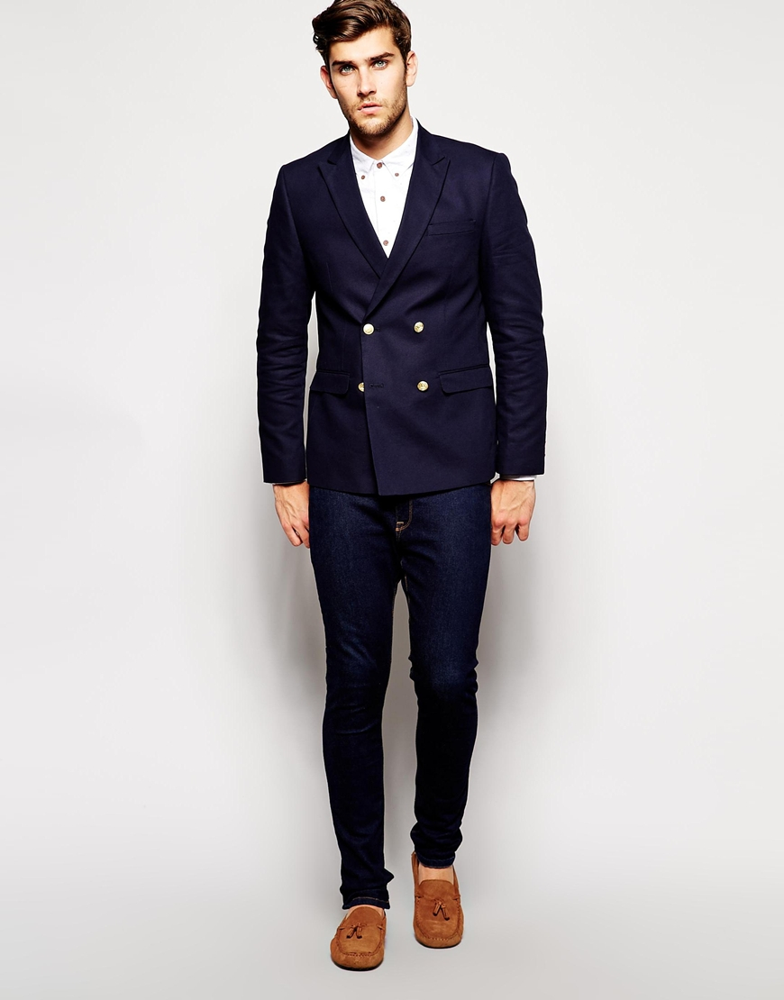 Asos Slim Fit Double Breasted Blazer With Gold Buttons in Blue for
