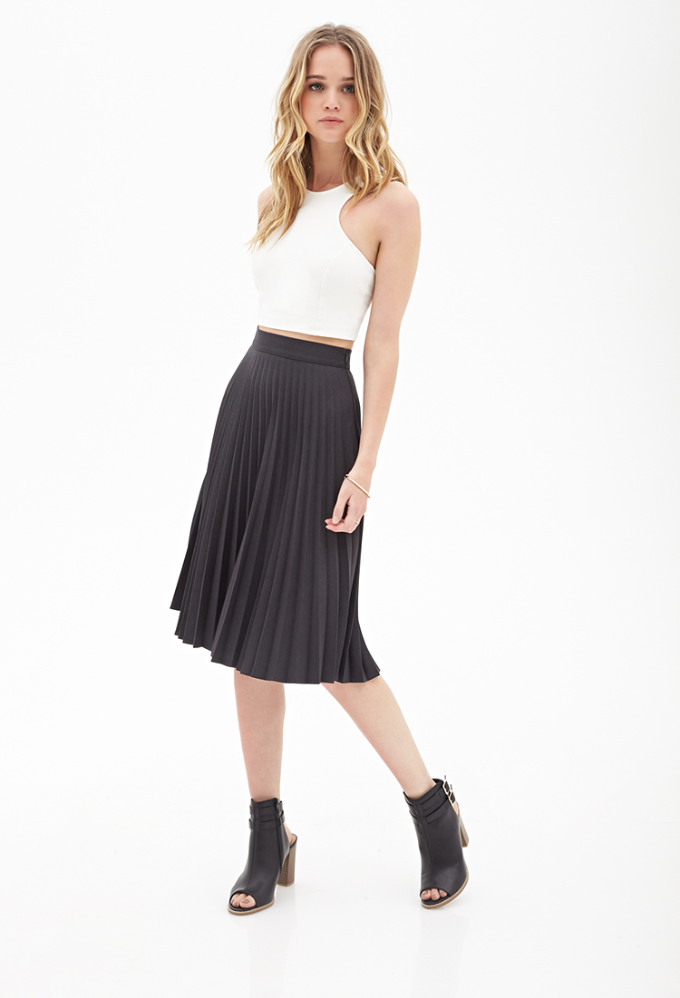 e1d1124dbe Forever 21 Accordion Pleated A-line Skirt in Gray - Lyst